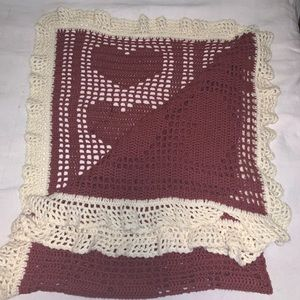 """Vintage hand crochet afghan with hearts, 60""""x80"""""""